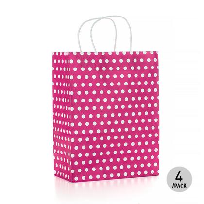 Gift Kraft Paper Polka Dot Bag - Large, Hot Pink 4Pcs - LIVINGbasics™
