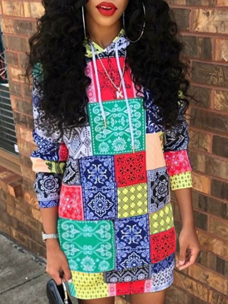 LW lovely Street Hooded Collar Print Multicolor Mini Dress