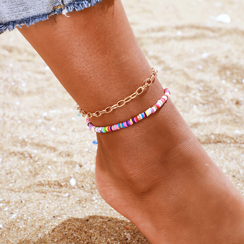 Bohemian Geometric Metal Oval Chain Anklet Polymer Clay Multi-layer Anklet