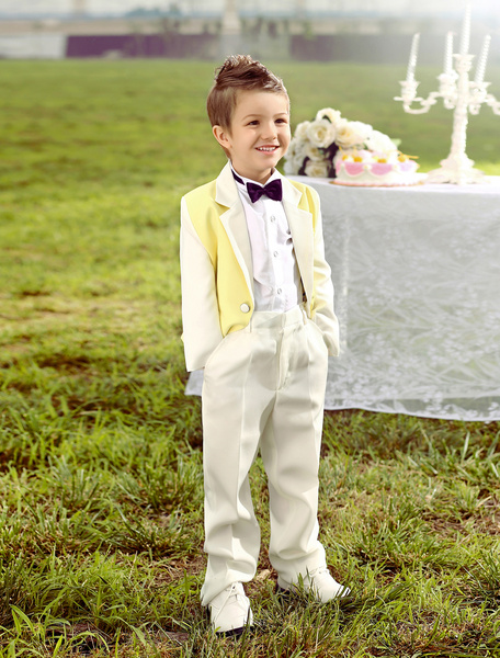 Milanoo Baby Boy Suit Set Kids Wedding Tuxedo Yellow Jacket Pants Shirts Bow Tie 4 Pcs Ring Bearer Suits