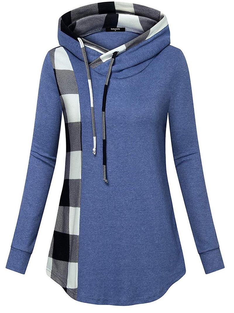 Ericdress Regular Color Block Long Sleeve Mid-Length Hoodie