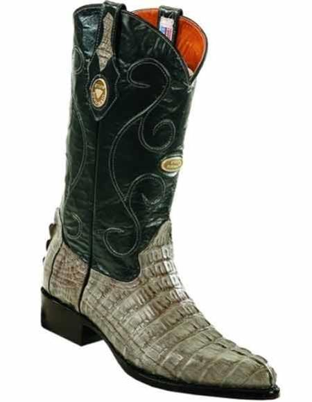 Men's Caiman Tail Gray J Toe Full Leather Lining Handcrafted Boots