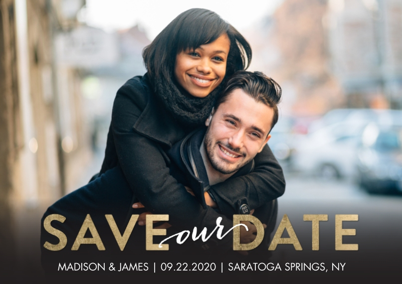 Save the Date Flat Glossy Photo Paper Cards with Envelopes, 5x7, Card & Stationery -Save the Date Block