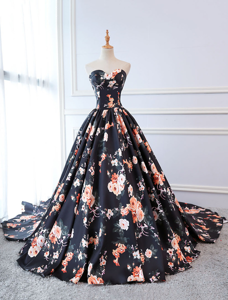Milanoo Quinceanera Dresses Floral Print Dark Navy Satin Strapless Sweetheart Women Pageant Dress Chapel Train
