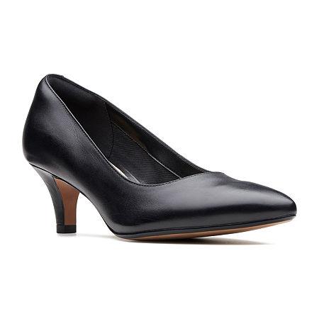 Clarks Womens Linvale Jerica Pumps Kitten Heel, 6 1/2 Medium, Black