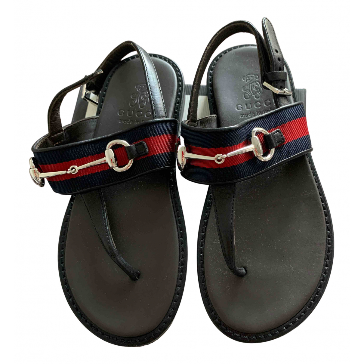 Gucci N Black Leather Sandals for Kids 29 FR