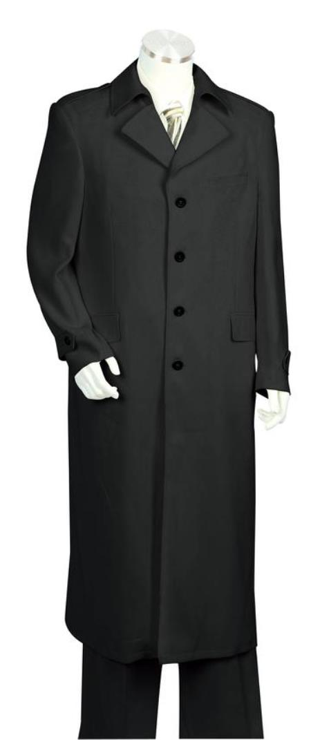 Mens Button Fastener Single Breasted Trench Collar Zoot Suit Black