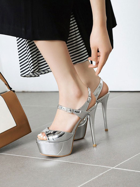 Milanoo High Heel Sexy Sandals Silver PU Leather Round Toe Sexy Shoes