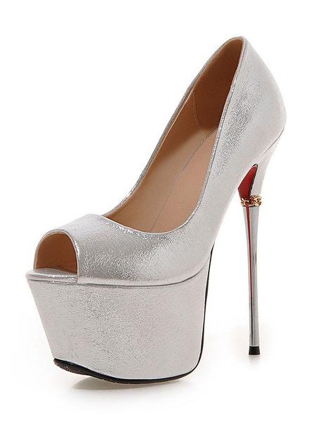 Milanoo Women Sexy Platform Pumps Stiletto High Heel Peep Toe Shoes for Party