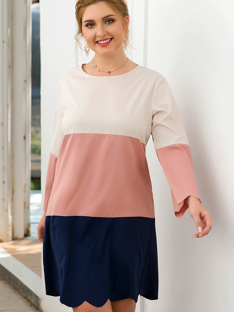 Casual Patchwork O-neck Plus Size Dress