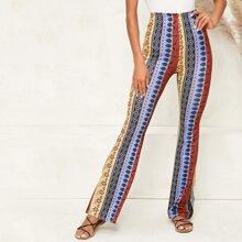 Flare Leg Tribal Print Pants