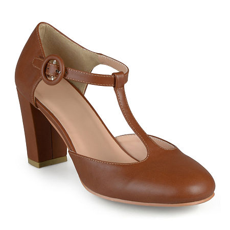 Journee Collection Womens Talie T-Strap Pumps, 8 1/2 Medium, Brown