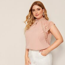 Plus Keyhole Back Lace Panel Blouse