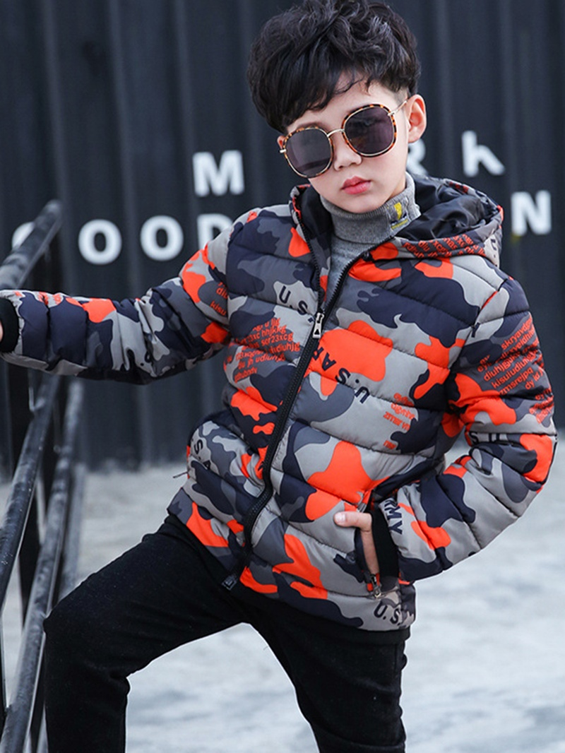 Ericdress Color Block Hooded Zipper Boys' Down Jacket