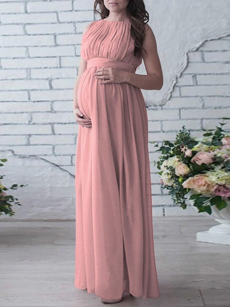 Maternity Women Sleeveless Maxi Photography Chiffon Dresses