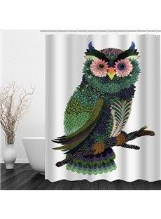 Exquisite Flower Owl 3D Printed Bathroom Waterproof Shower Curtain