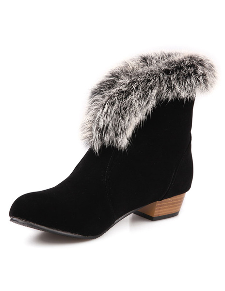 Milanoo Black Women's Booties Round Toe Faux Fur Chunky Heel Short Boots