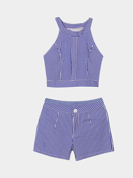 Yoins Stripe Pattern Crew Neck Sleeveless Top & Shorts Co-ord