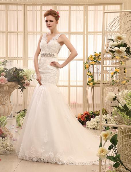 Milanoo Mermaid Rhinestone Chapel Train Ivory Wedding Dress For Bride with V-Neck Tulle