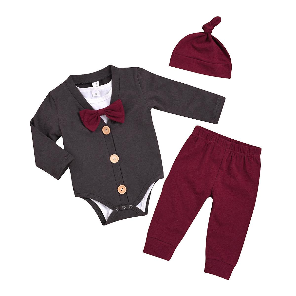 4PCs Baby Boys Gentleman Long Sleeves Rompers Set For 0-24M
