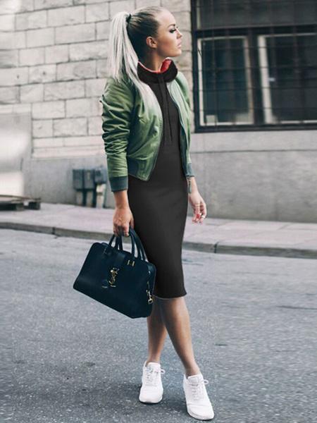 Milanoo Women Shift Dress Hooded Long Sleeves Light Grey Cotton Blend Hoodie Casual Dress