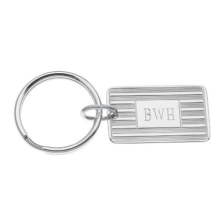 Personalized Rectangular Silvertone Key Ring, One Size , Silver