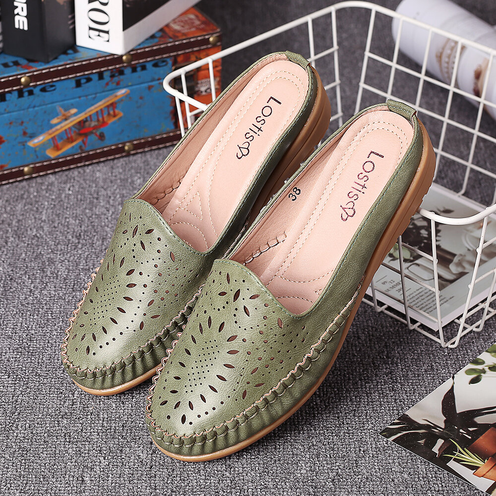 LOSTISY Handmade Stitching Non Slip Hollow Out Easy Slip On Backless Flats
