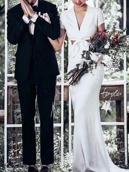 Milanoo Simple Wedding Dress 2020 Lycra Spandex V Neck Short Sleeves Bows Sheath Bridal Gowns