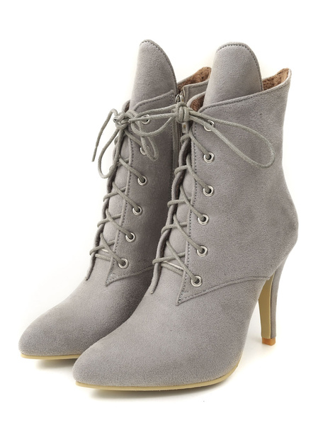 Milanoo Grey Ankle Boots Women Pointed Toe Lace Up Short Boots