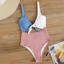 Color Block Cut-out One Piece Swimsuit