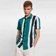 Guys Colorblock Striped Shirt