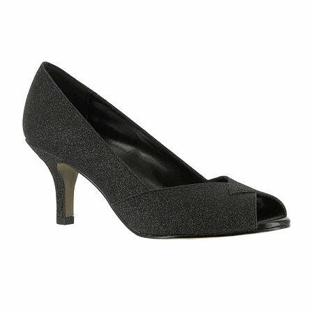 Easy Street Womens Ravish Pumps Peep Toe Kitten Heel, 6 1/2 Medium, Black