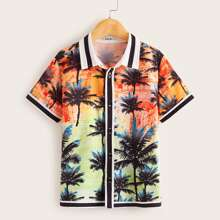 Boys Striped Trim Tropical Print Shirt