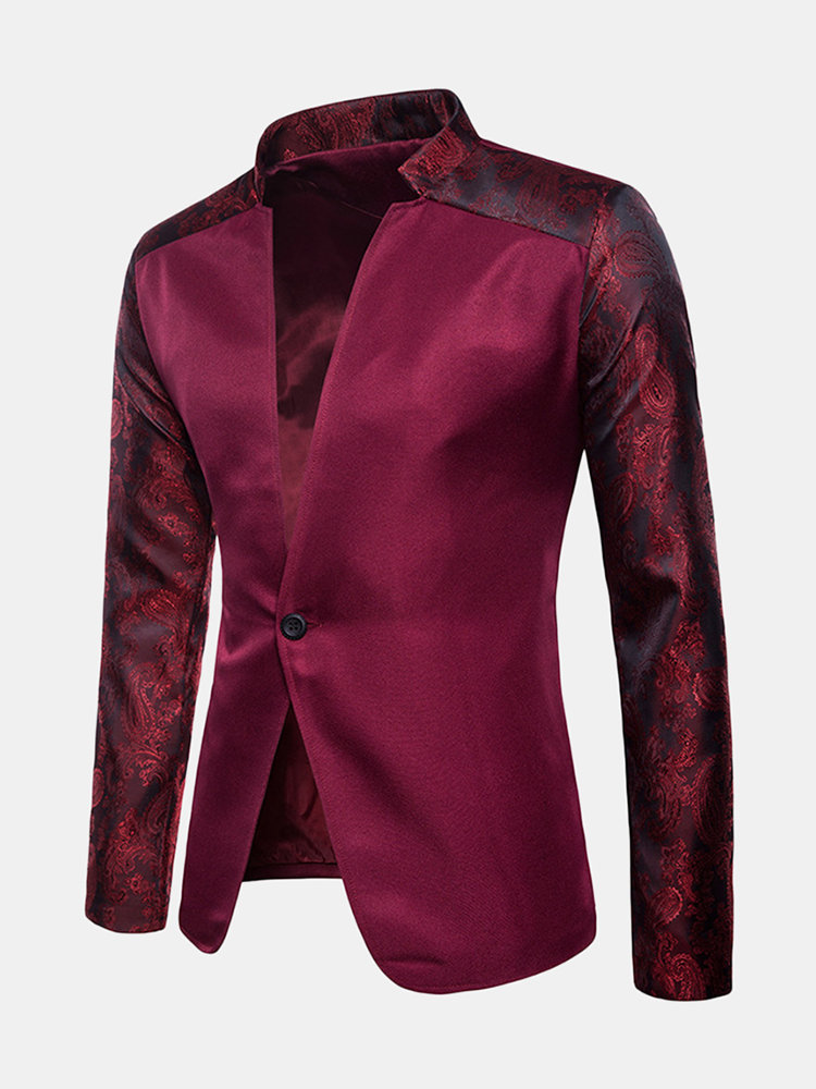 Mens Floral Raglan Sleeve Patchwork Casual Dress Suit Wedding Stage Banquet Blazer