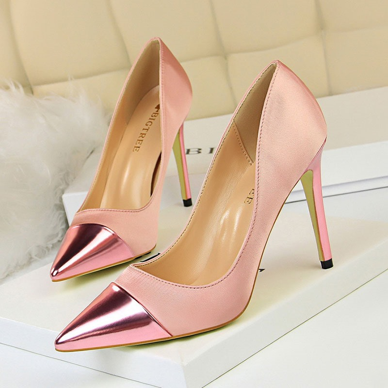 Ericdress Plain Pointed Toe Stiletto Heel Slip-On Women's Pumps