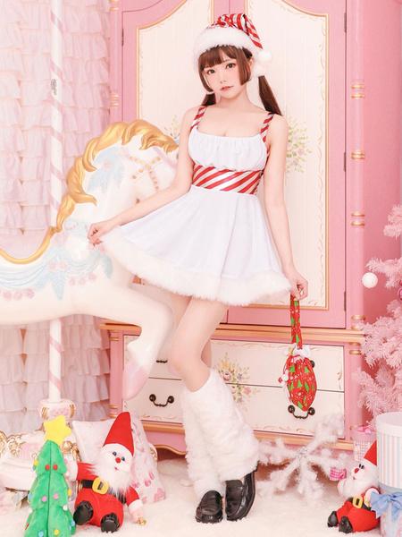 Milanoo Christmas Santa Claus Costume White Dresses Hat Leg Warmer Outfit For Women Halloween