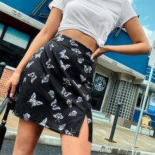 Butterfly Print Split Hem Skirt