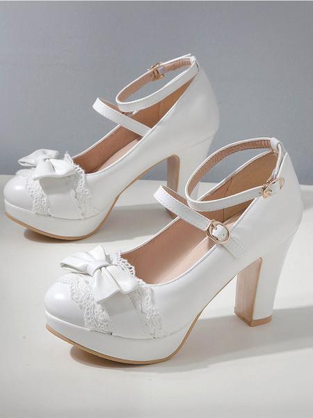 Milanoo Sweet Lolita Footwear Bow Lace PU Leather Platform Chunky Heel Lolita Shoes