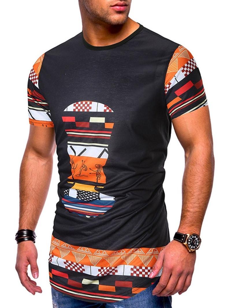 Ericdress Round Neck Casual Print Slim Short Sleeve Men's T-shirt