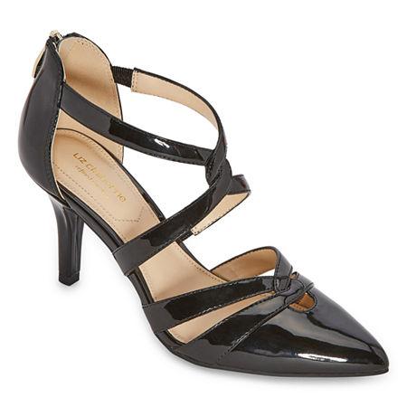 Liz Claiborne Womens Havra Pointed Toe Kitten Heel Pumps, 10 Medium, Black