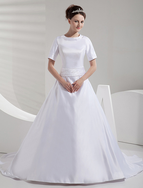 Milanoo A-line Court Train White Bride's Wedding Dress with Jewel Neck Sash