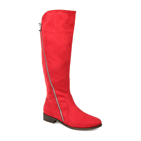 Journee Collection Womens Kerin Riding Boots Stacked Heel, 12 Medium, Red