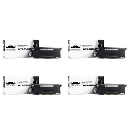 Compatible Brother TN580 Black Toner Cartridge by Moustache, 4 Pack - High Yield