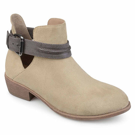 Journee Collection Womens Mavrik Booties Block Heel, 11 Medium, Beige