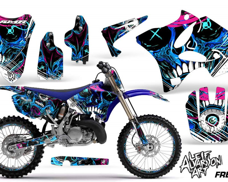 AMR Racing Graphics MX-NP-YAM-YZ125-YZ250-02-14- Kit Decal Sticker Wrap + # Plates For Yamaha YZ125 YZ250 2002-2014áDIAMOND FLAMES BLUE WHITE