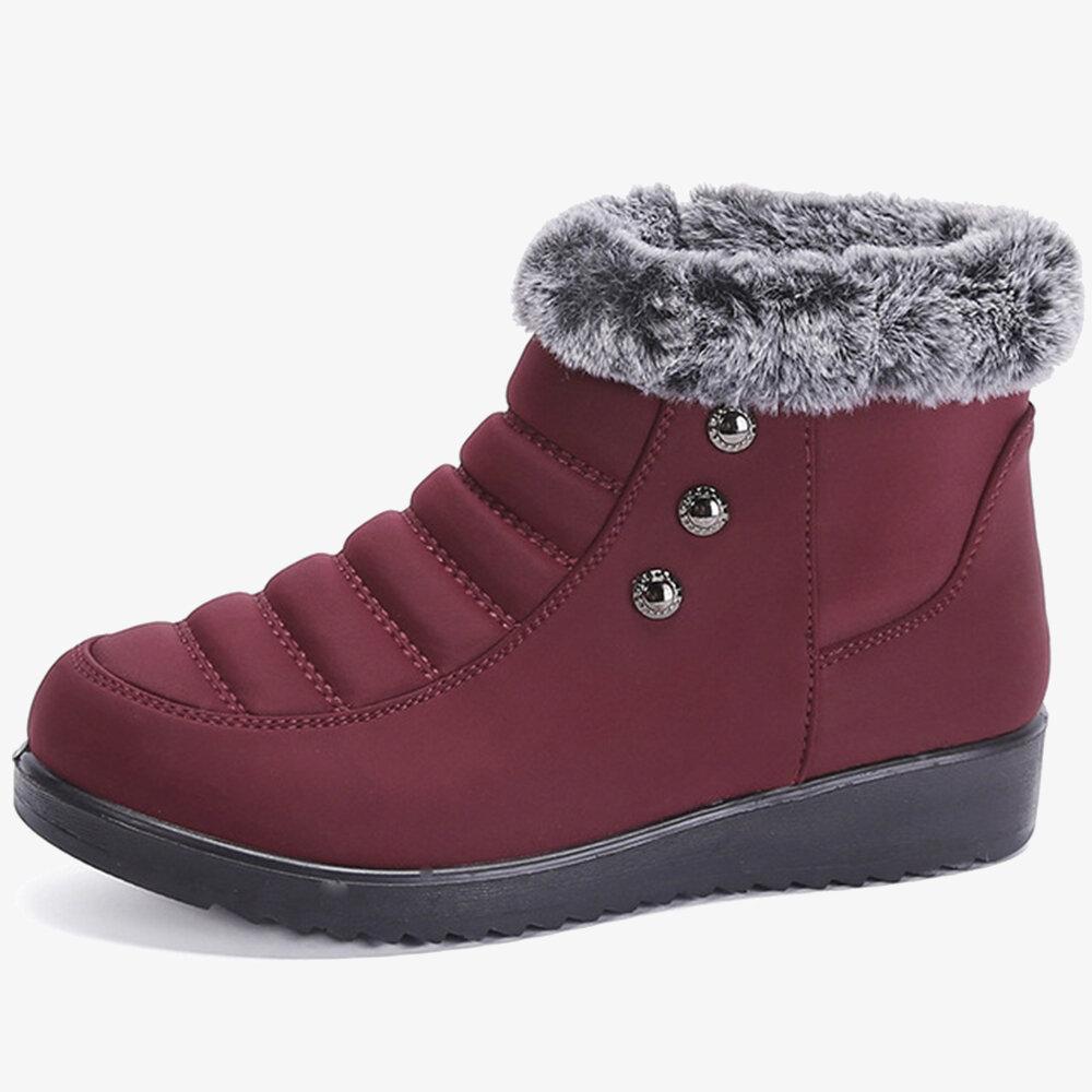 Beaded Stitching Warm Plush Lining Zipper Casual Boots