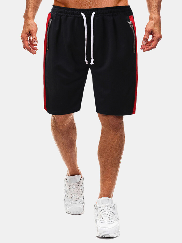 Mens Cotton Side Stripe Loose Casual Elastic Drawstring Waist Shorts