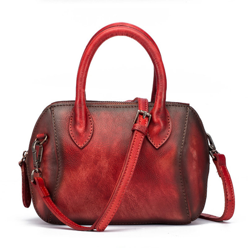 Women Genuine Leather Brush Vintage Handbag Crossbody Bag