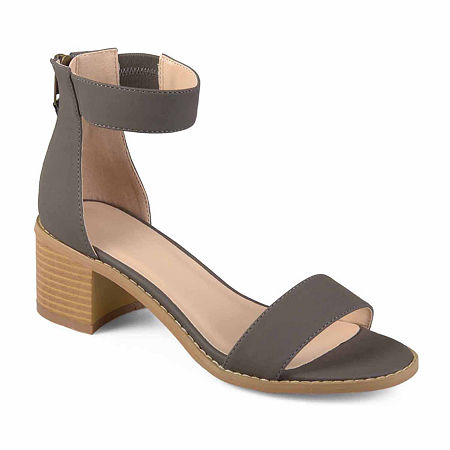 Journee Collection Womens Percy Heeled Sandals, 8 1/2 Medium, Gray