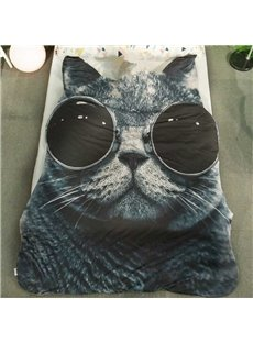 Cool 3D Black Cat with Sunglasses Design Skincare Polyester Quilt